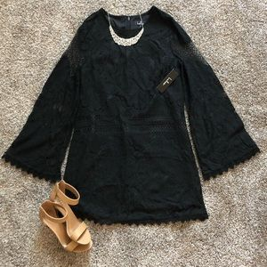 Lulus Can't Forget You Black Lace Bell Shift Dress